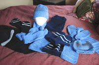knitted hats, mittens, scarves