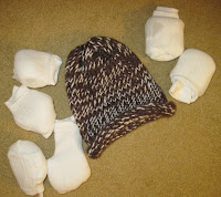 knit hat and socks for the homeless