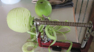 slicing and peeling apples