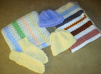 crocheted hats, mittens and blankets