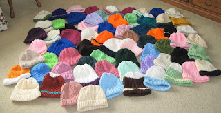 knitted, loomed hats for the homeless