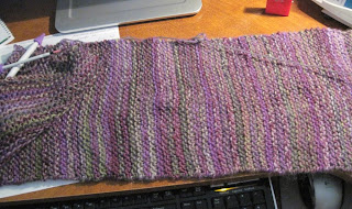 knitted purple and green scarf