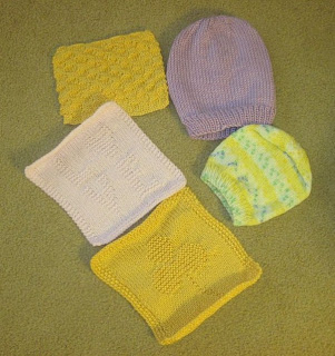 knitted hats and squares