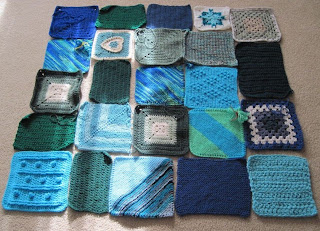 blue and Green designed afghan