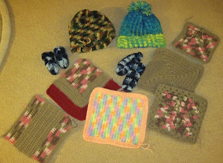 crocheted donations for the homeless