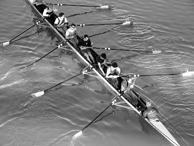 Avirons sur le fleuve d'eau