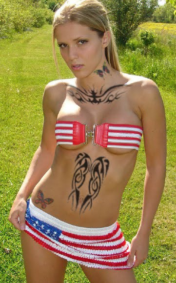Sexy Tribal and Butterfly Tattoo Design on American Girl Body