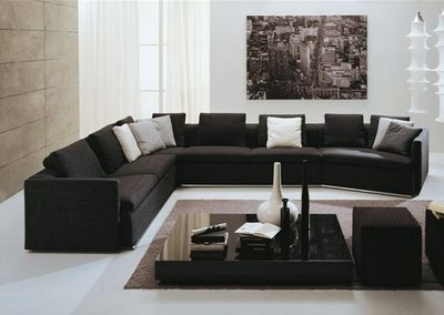 Interior design and more modern living room designs - Black sofas living room design ...