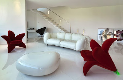 Living Room Interior Designs on Home Interior Design Living Room Furniture Seating Chairs Red White