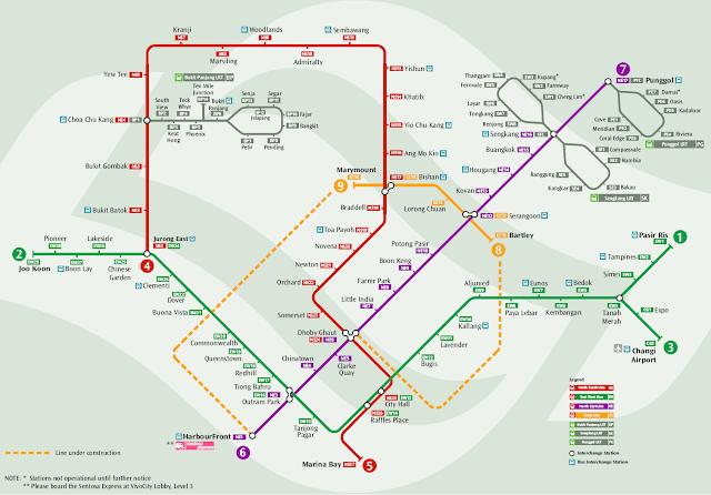 Mapa Transporte de Singapur