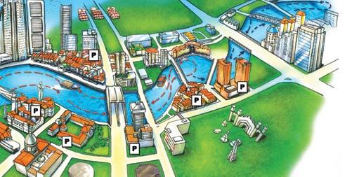 Mapa crucero por el rio Singapur
