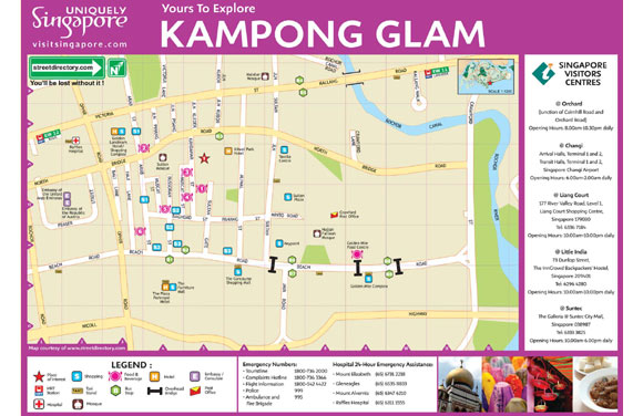 Mapa Kampong Glam de Singapur