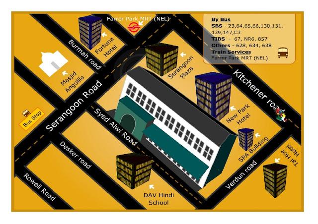 Mapa Mustafa Centre Singapur