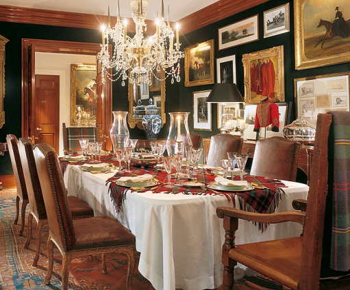Ralph Laurens Private Dining Room Looks Might Inviting Love All The Art On Walls Loden Green And Plaid Backed Chairs