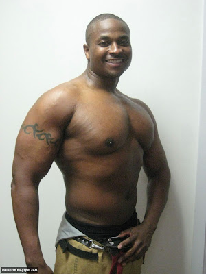 MIGHTY FINE MEN: Black, Shirtless Firefighter