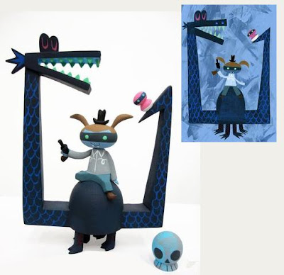 Death Dragon Hand Painted Resin Figure and Matching Print by Amanda Visell