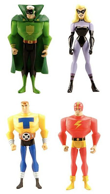 MattyCollector.com Exclusive Justice Guild JLU 4 Pack &#8211; Green Guardsman, Black Siren, Tom Turbine & The Streak Action Figures