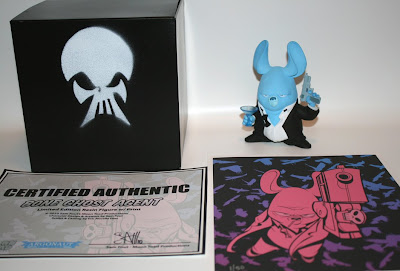 Argonaut Resins x Sam Fout Bone Ghost Agent Resin Figures - Bone Ghost Agent E with Handmade Packaging, Mini Art Print and Certificate of Authenticity