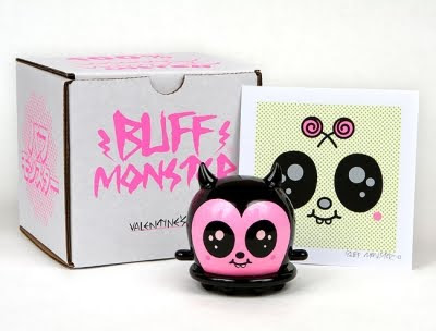 Valentine's Day Custom Hand Painted 3 Inch Buff Monster Vinyl Figure and Print Set by Buff Monster
