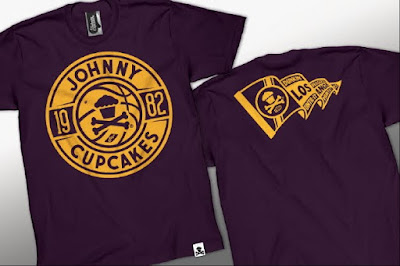 Johnny Cupcakes x NBA The Dream Team T-Shirts - Dunkin' Desserts Until It Hurts Los Angeles Lakers Themed T-Shirt