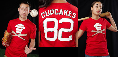 Johnny Cupcakes - Red Baseball Cupcake and Crossbones T-Shirts