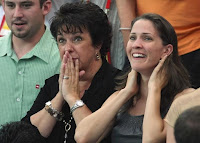United States of America Olympic Swimmer Michael Phelps' Mother Debbie and Sister Hilary Celebrating His Olympic Victories