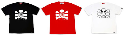 OBEY Giant x KIKS TYO - KIKS TYOBEY SKULL Black, Red and White T-Shirts