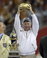 The University of Texas Head Coach Mack Brown Celebrating the Longhorns Victory Over Ohio State in the 2009 Fiesta Bowl