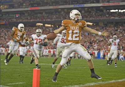 The University of Texas Quarterback Colt McCoy Scores a Rushing Touchdown Against Ohio State in the 2009 Fiesta Bowl