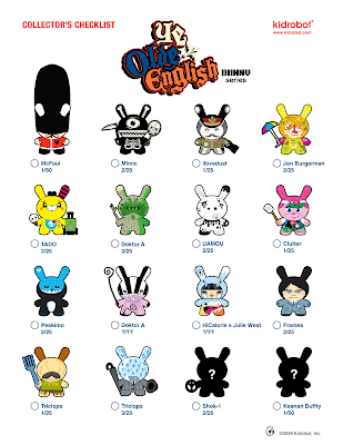 Kidrobot - Ye Olde English Dunny Series Official Collector's Checklist