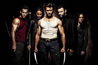X-Men Origins: Wolverine Cast Photo - Ryan Reynolds as Deadpool, Taylor Kitsch as Gambit, Hugh Jackman as Wolverine, Live Schreiber as Sabretooth & Lynn Collins as Silver Fox