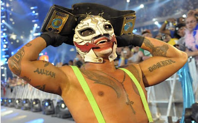 WrestleMania XXV - Rey Mysterio after winning the WWE Intercontinental Championship Belt
