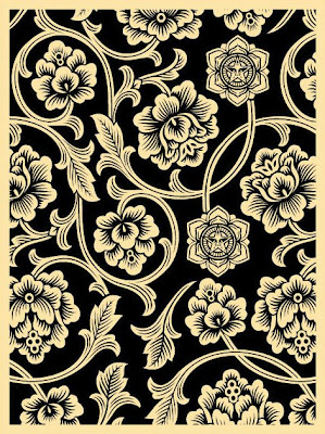 OBEY Giant - Black Flower Vine Screen Print by Shepard Fairey