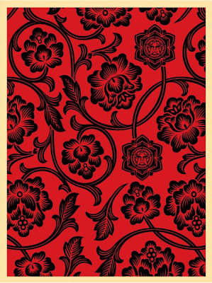 OBEY Giant - Black and Red Flower Vine Screen Print by Shepard Fairey