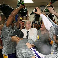 The Lakers douse Phil Jackson with champagne after winning the 2009 NBA Championship