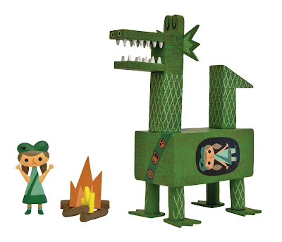 7 Inch Green Dragon Scout Vinyl Toy by Amanda Visell
