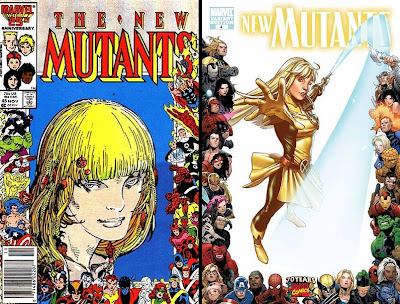 Then and Now: New Mutants Issue Number 45 from 1986 (Marvel Comics 25th Anniversary Variant Cover Artwork featuring Magik) and New Mutants Issue Number 4 from 2009 (Marvel Comics 70th Anniversary Variant Cover Artwork featuring Magik)