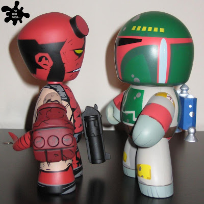 Hellboy Mez-Itz vs. Boba Fett Mighty Muggs Vinyl Figures Side View