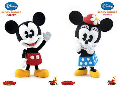 Disney Friends 3 Inch Cosbaby Viny Figures by Hot Toys - Mickey Mouse and Minnie Mouse