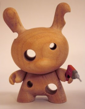 Kidrobot Dunny Series 2009 Chase Wood Dunny Variants by Travis Cain - Drill Wood Dunny