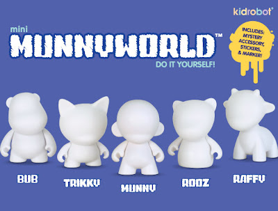 Kidrobot - Mini MUNNYWORLD Do It Yourself 4 Inch Vinyl Figures - BUB, TRIKKY, MUNNY, ROOZ & RAFFY
