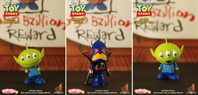 Toy Story CosBaby 3 Inch Vinyl Figures by Hot Toys - Smiling Version Alien, Emperor Zurg & Oooh... Version Alien