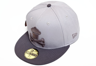 Johnny Cucpakes New Era Grey on Grey Cupcake and Crossbones Fitted Hat