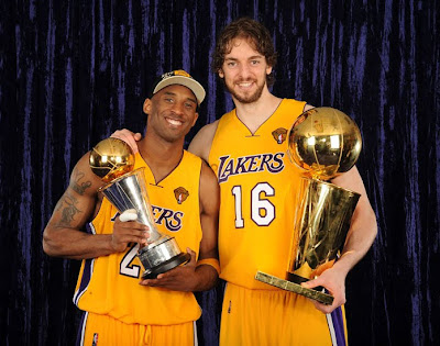 2010 NBA Champion LA Lakers - Kobe Bryant and Pau Gasol Celebrating Their Second Straight NBA Championship