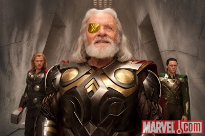 Thor Motion Picture First Look - Official Photo of Chris Hemsworth as Thor, Anthony Hopkins as Odin & Tom Hiddleston as Loki