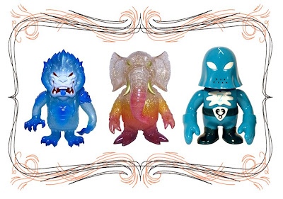 Super7 San Diego Comic-Con 2010 Exclusive Clear Blue Mongolion by L'amour Supreme, Clear with Gold Glitter Stomp &amp; Blue-Green Hood Zombie by Brian Flynn