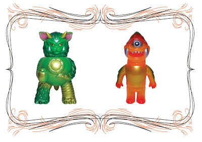 Super7 San Diego Comic-Con 2010 Exclusive Green Partyball by Paul Kaiju & Clear Orange Zagarad by Kiyoka Ikeda x Le Merde