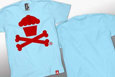 Johnny Cupcakes Summer 2010 Collection Part III - Red Cupcake and Crossbones on a Light Aqua T-Shirt