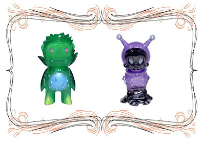 Super7 San Diego Comic-Con 2010 Exclusive Clear Green Rose Vampire by Josh Herbolsheimer & Clear Purple with Purple Glitter Big Sal by Brandt Peters & Kathie Olivas