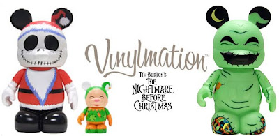 Disney Vinylmation Tim Burton's The Nightmare Before Christmas 9 Inch Figures - Santa Jack Skellington and Elf & Glow-in-the-Dark Oogie Boogie